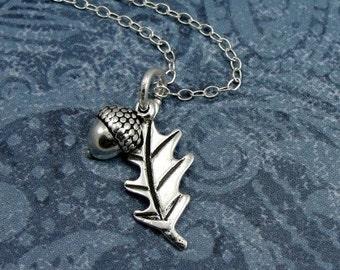 Oak Leaf and Acorn Necklace, Sterling Silver Oak Leaf and Acorn Charm on a Silver Cable Chain