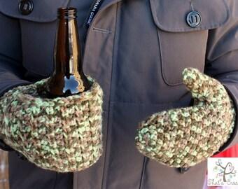 Beverage Cozy Mitts, Crochet Mitts, Ladies Mitts, Men Mitts, Crochet Cozy Beer Mitts