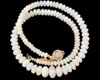 White Ethiopian Opal Necklace | 14kt Gold Diamond Clasp Necklace | Graduated Opal Statement Necklace | Ethiopian Opal Choker Necklace