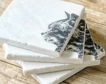 TABBY CAT natural stone coaster & Handmade Natural Stone Tableware from the by ENCOREHOMEgift
