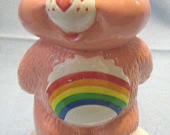 Vintage original pink Care Bears Coin Bank by TCFC 1979 Licensed by TCFC very good