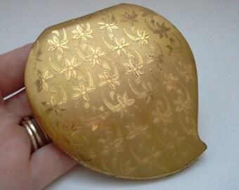Elgin Compact, Vintage Compact, Gold Compact, Elgin America, Brushed Gold Compact, Metal Compact, Vintage Makeup, Vintage Powder Case