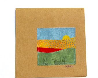 Thinking of You Fabric Collage Notecard-blank