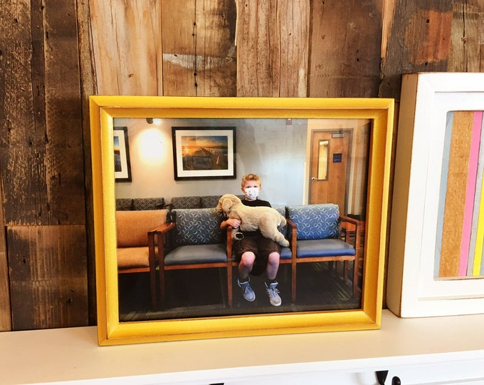 8x10 Picture Frame in Better Deep Double Cove Style with Vintage Shimmer Gold Finish - IN STOCK - Same Day Shipping Solid Wood Frame 8 x 10