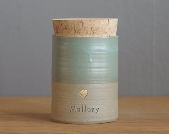 pet urn. optional gold stamp, straight shaped urn with custom stamp. modern simple urn for ashes. funerary urn. satin turquoise / sand shown