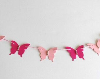 Butterfly Garland, baby girl shower decor, bridal shower accent, wedding decor, birthday garland, girls room wall decor