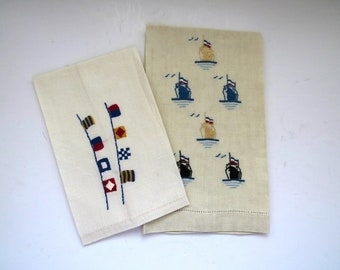 Vintage Nautical Hand Towels - Embroidered Ships Yachts Nautical Flags Finger Tip Towels - Captain Guest Powder Room Bathroom - Home Decor