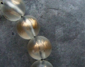 Round Bead, Clear Bead, Gold Bead, Vintage Bead, Lucite Bead, Boho Bead, Matte, Frosted, Unique Bead, Gold Washed, Boho Jewelry Supplies, 12