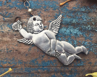 Vintage Pewter Cherub Ornament Angel Milagro Guardian Angel Gifts Christmas Ornaments