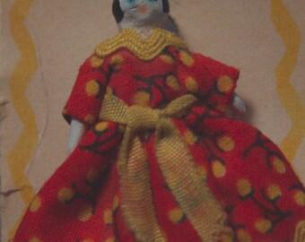 China Doll Pin/Brooch, Circa 1970s by Mary Jo Brockington