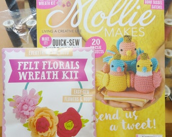 Mollie Makes, Handmade Crafts, Mollie Makes Issue 80, Felt Floral Wreath Kit, New Mollie Makes Magazine