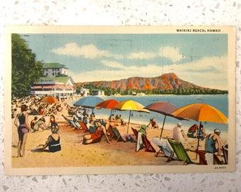 Waikiki Beach Umbrellas Outrigger Canoe Waikiki Beach Hawaii Postcard PC Hawaiian Tiki Bar