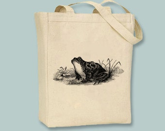 Vintage Toad or Frog Canvas Tote -- Selection of sizes available, ANY COLOR image