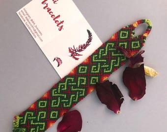 handmade custom woven friendship bracelet. festival. green. red. homecoming. sml.button. anklet. wristband. macrame. boho accessories. girls