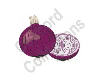Red Onions - Machine Embroidery Design, Onion