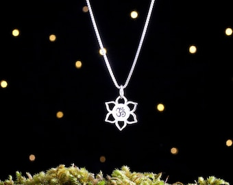 Sterling Silver Lotus Flower and Om - (Charm Only or Necklace)