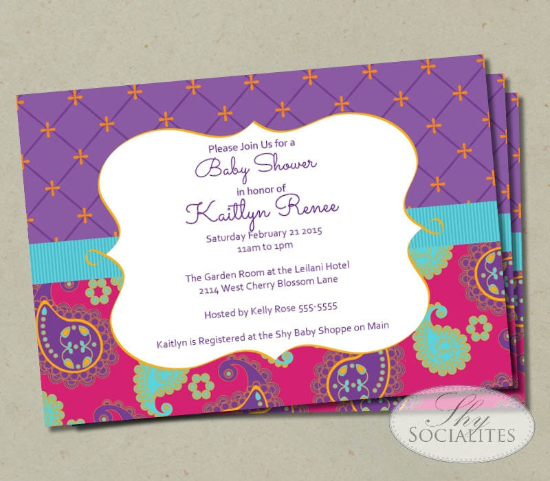 Moroccan Baby Shower invitation Fuchsia & Purple Paisley