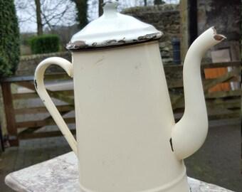 French Vintage  Enamel Coffee Pot