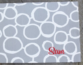 Personalized Pet Placemat, Gray Dog Placemat with Circles, Personalized Pet Placemat, Dog Food + Water Bowl Mat
