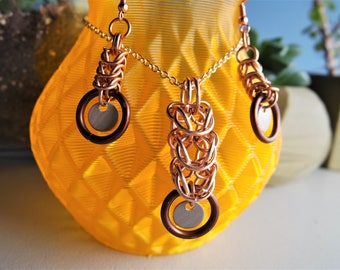 Bronze and Brown Chainmail Necklace and Earrings set / Chainmaille / Byzantine Weave
