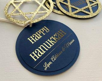 Hanukkah Gift Tags, Happy Hanukkah Tags, Personalized Hanukkah Tags, Star of David Gift Tags, Menorah