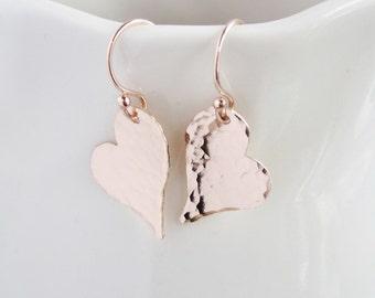 Rose gold earrings, wife birthday gift, heart earrings, girlfriend gift, abstract hearts, hammered metal earrings, sterling silver earrings