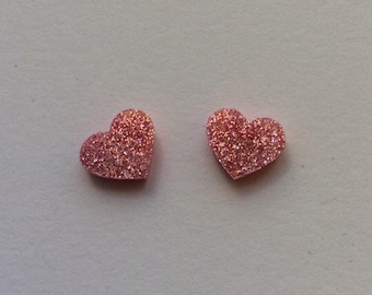 Large light pink rose glitter Acrylic / perspex laser cut earrings heart studs