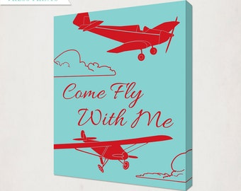 Red & Teal Vintage Airplane Canvas // Boy's Plane Antique Style Nursery Art // Come Fly With Me Canvas // custom colors