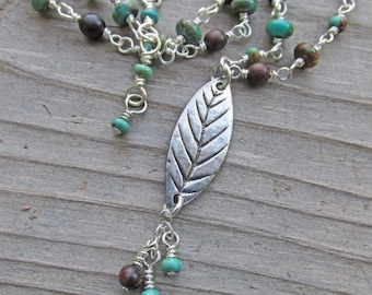 Turquoise Wood Leaf Boho Bohemian Inspirational Healing Gemstone Necklace