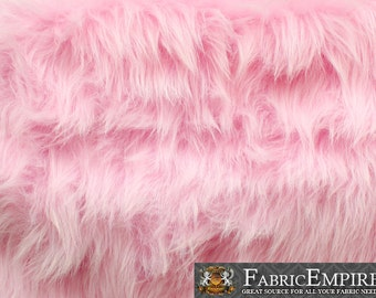 "Faux Fur Fabric Long Pile Monkey Shaggy PINK / 60"" Wide / Sold by the yard"