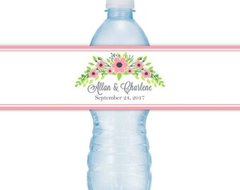 Wedding Water Bottle Labels - CUSTOM Printable Pink Floral Water Bottle Labels, YOU print, you cut, DIY water bottle labels
