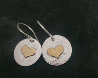 Heart Earrings - Gold and Silver