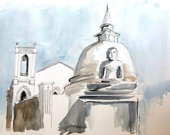 original watercolor painting - Buddha statue and stupa, Buddhist temple, Galle Fort Sri Lanka