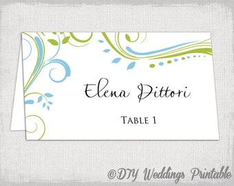 """Printable Place card template Green and blue """"Scroll"""" name cards DIY wedding place card templates Avery 5302 YOU EDIT Word /Jpg download"""