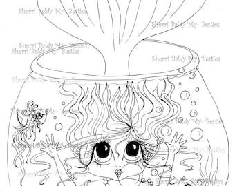 INSTANT DOWNLOAD Digital Digi Stamps Big Eye Big Head Dolls Bestie New Bestie Mermaid Img393 My Besties By Sherri Baldy