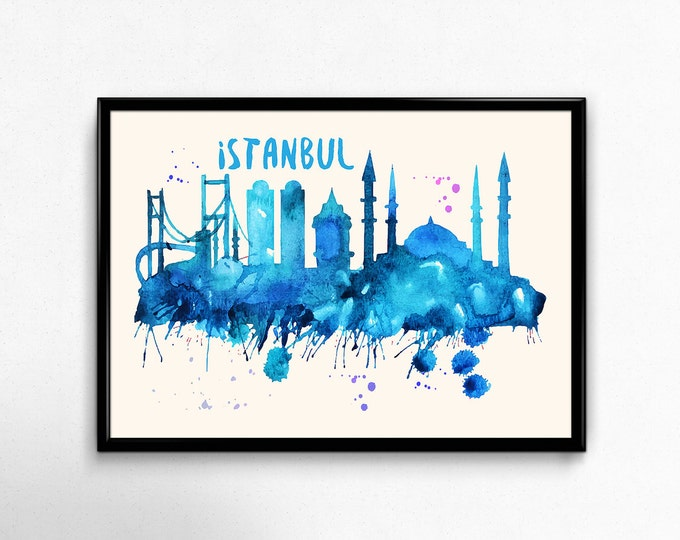 Istanbul Skyline Watercolor Poster - Cityscape Painting Artwork - Art Print, Multiple Sizes - 10x8 to 36x24 - Watercolor Painting Style
