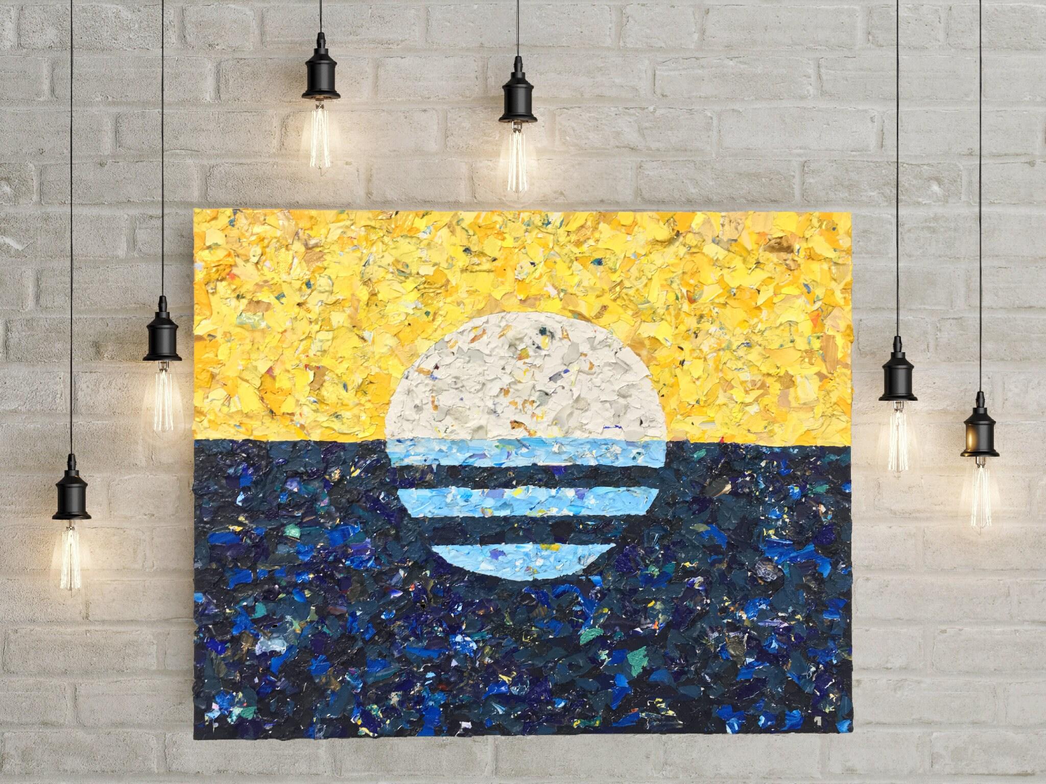 ORIGINAL Painting - Milwaukee Flag - palette chip acrylic painting ...