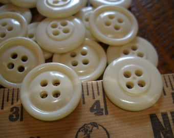 """Cool Cream Vintage Buttons- 3/4"""" (30L 19MM) 21 each Shiny Plastic traditional rounded face 1 rim 4 hole sew on sewing crafts scrapbook"""
