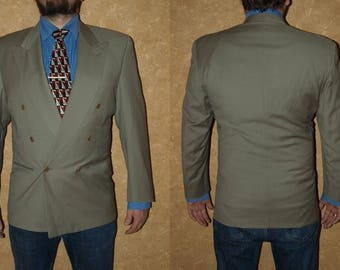 Vintage CERRUTI 1881 Blazer Size Long Eur 52 Us 42, Uk 42 Made in Italy Wool jacket Suit jacket light gray green color double breasted
