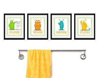 Kids Bathroom Art - Children's Wall Decor Aliens for the Bathroom - Kids Bathroom Decor art - Four 8 x 10  Bathroom Alien Child Prints