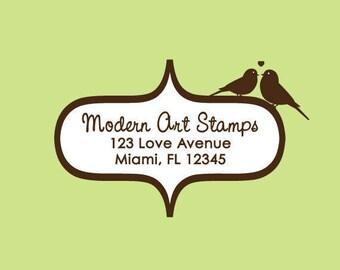 Wedding Stamp   Custom Wedding Stamp   Custom Rubber Stamp   Custom Stamp   Personalized Stamp   Return Address Stamp   Birds in Love   C162