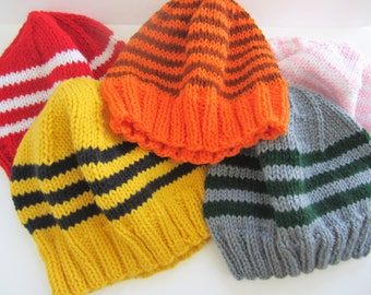 Adult Winter Hat, Striped Winter Hat, Teen Winter Hat, Adult Beanie, Knit Beanie, Slytherin Hat, Orange Hat, Adult Pink Hat, Teen Beanie