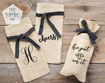 Burlap Wine Bags, Engagement Gift Wine Bag, Wedding Shower Wine Bag, Congrats Wine Bag Wine Gift Bag, Champagne bag, Wine Lover Gift Idea