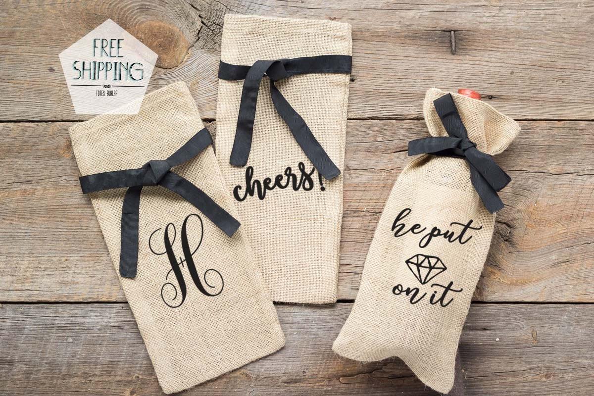 Burlap Wine Bags Engagement Gift Wine Bag Wedding Shower