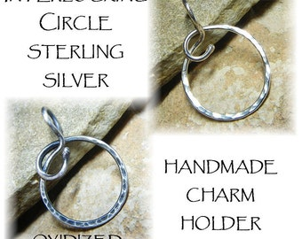 Unique Thick Sterling Silver Organic Interlocking Circle Charm Holder Pendant for Your Own Charms - Antiqued or Shiny - Handmade to Order