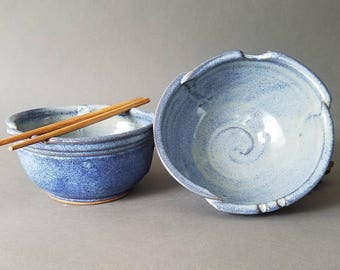 Set of 2 Large Triangular Rice and Noodle Bowls Chopstick Notches and Thumb Rest in Denim Blue