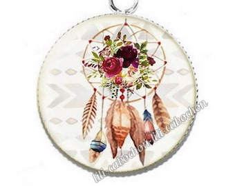 Ethnic Dreamcatcher av31 flowers resin pendant cabochon