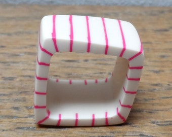 square ring - nude resin with cerise stripes
