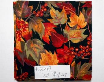 Fabric- 1 yard piece #2249 - October Leaves/Moda/red/green/purple/orange/black/rust/leaf print/leaves
