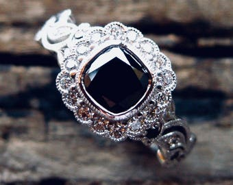 Black Diamond Engagement Ring in 14K White Gold with Leafs and Flower Blossoms on Vine Size 7